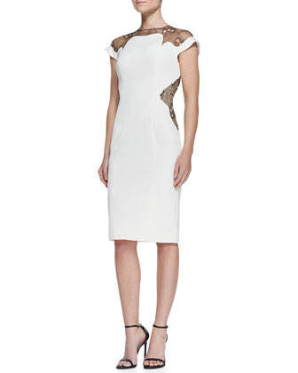 Lace-Inset Sheath Dress, Ivory