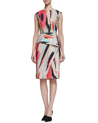 Brushstroke-Print Cotton Dress with Folded Skirt
