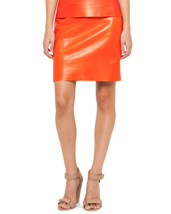 Sleeveless Leather Combo Top and Leather Pencil Skirt