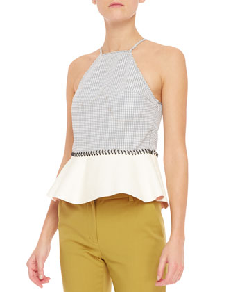 Grid-Print Silk Halter Tank with Leather Peplum