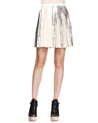 Long-Sleeve Merino Pullover and Pleated Foil Short Skirt
