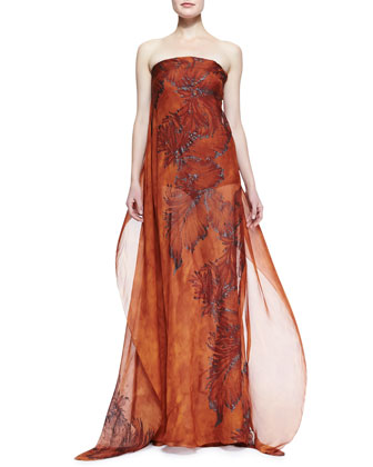 Eve Printed Strapless Caftan Gown