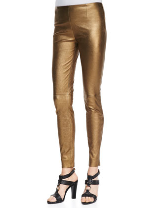 Giana Cold-Shoulder Top and Metallic Leather Skinny Pants