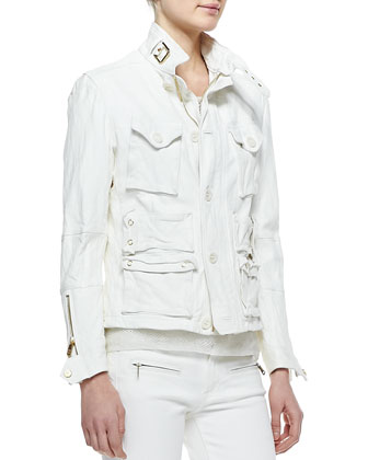 Heavy-Wash Lambskin Jacket, Boat-Neck Modern Netting Top, Teaser Tank Top & 400 Zip Matchstick ...