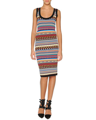 Tribal-Print Sheath Dress, Black/Multi