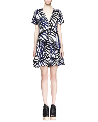 Printed V-Neck Dress, Blue/Black