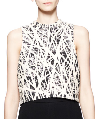 Sleeveless Branch-Print Crop Top