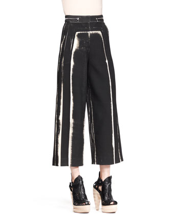Distressed-Print Wide Cropped Pants