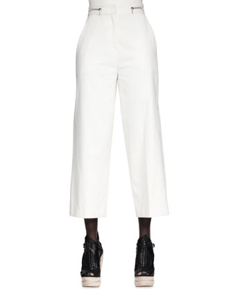 Turnlock-Front Lady Jacket, Cropped Folded Sleeveless Top & High-Waist Cropped Pants