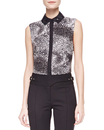 Sleeveless Printed Silk Blouse, Black