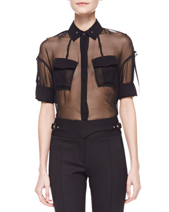 Cropped Leather Motorcycle Jacket, Sheer Silk Utility Shirt & Bi-Stretch Wool Utility Pants