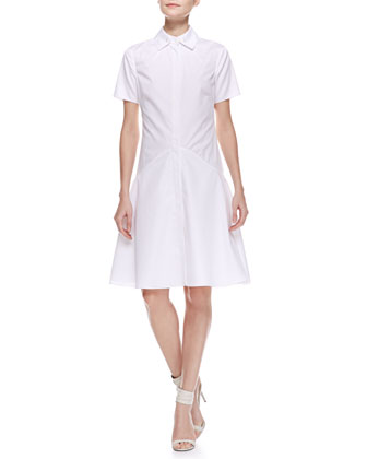 Two-Collar Cotton Poplin Flounce Shirtdress, Ivory