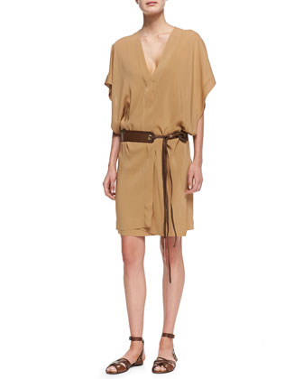 Draped Dress with Grommeted Leather Tie Belt, Musk
