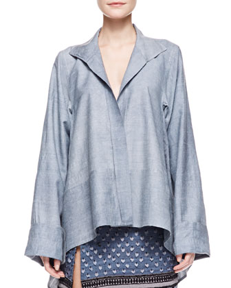 Long Sleeve Caftan Shirt with French Cuffs, Pale Indigo