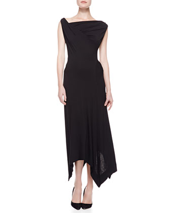 Asymmetric Cropped Zip Jacket & Long Twist Drape Dress, Black