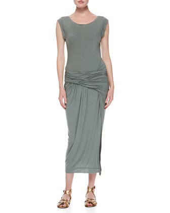 Cap Sleeve Draped T-shirt Dress, Vetiver