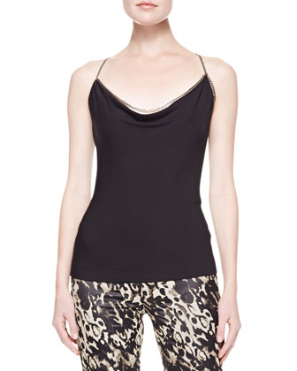 Draped Tank with Chain Straps, Black