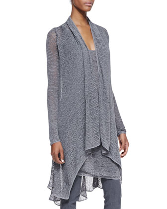 Long-Sleeve Cozy Cardigan, Sleeveless Draped Cowl Tunic & Pull-On Pants with Seams