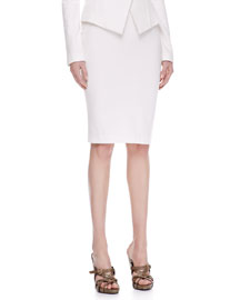 Pull-On Jersey Pencil Skirt, Ivory