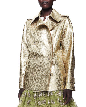 Metallic Leopard Jacket, Techno Satin Blouse & Tiered Tulle Skirt
