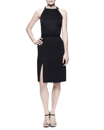 Kick-Pleat Sheath Dress & Wide Grip-Strap Belt
