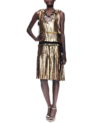 Metallic Drop-Waist Dress, Gold
