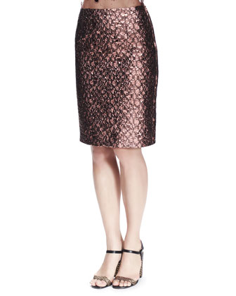 Metallic Brocade Skirt, Light Pink