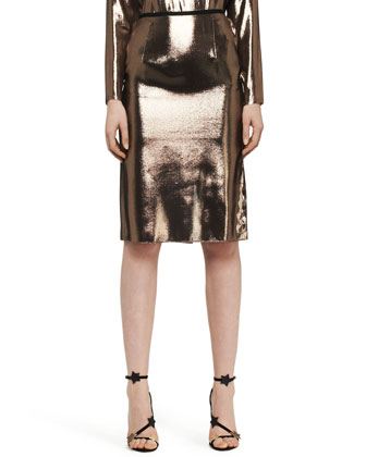 Washed Lamé Kangaroo-Pocket Top, Skirt & Metallic Python Belt