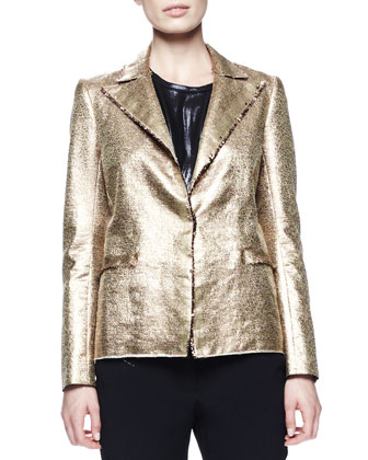 Matte Metallic Basketweave Jacket, Zip-Shoulder Shell & Grosgrain-Trim Pajama-Inspired Silk Pants