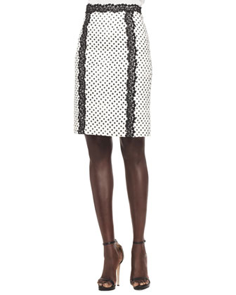 Lace-Trim Cropped Jacket, Sleeveless Contrast Lace Blouse & Dotted Lace-Trim Skirt