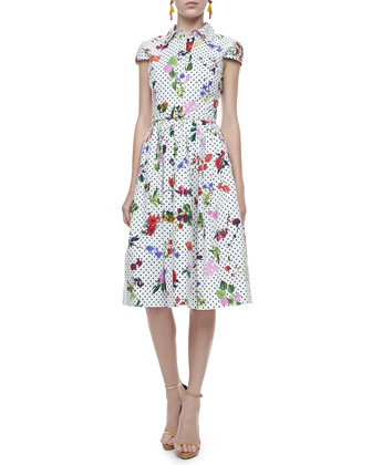 Belted Polka-Dot & Floral Dress, White/Multi