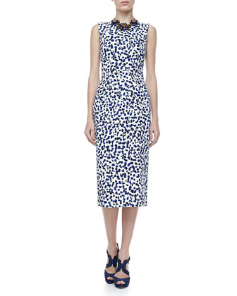 Sleeveless Printed Dress, White/Blue