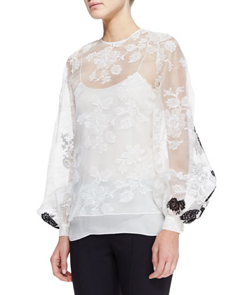 Sheer Long-Sleeve Lace Blouse, White