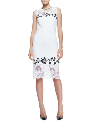 Sleeveless Fitted Lace Sheath Dress, White/Black