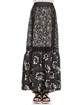 Lace-Inset Long Floral Skirt, Gray