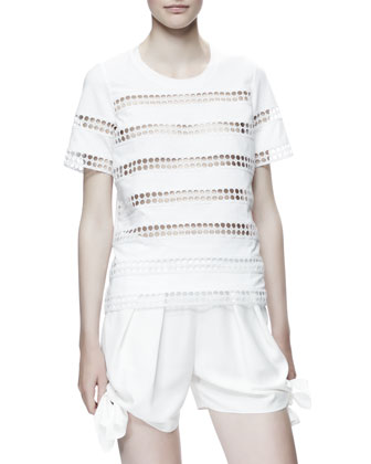 Eyelet-Striped Cotton Shirt, White