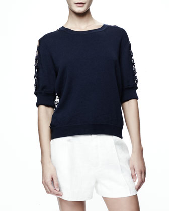 Elbow Sleeve Lace Trim Sweater, Blue