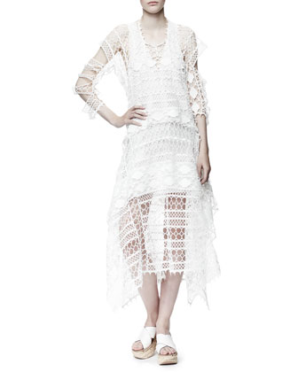 Graphic Lace Dress, White