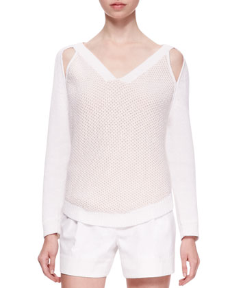 V-Neck Sweater with Cold Shoulders