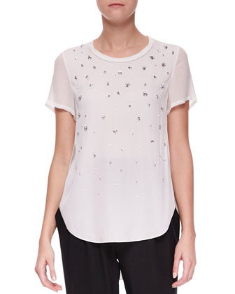 Meteorite Beaded T-Shirt and Slim Draped Pocket Trousers