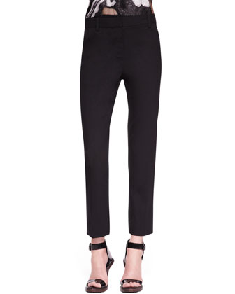 Cropped Crepe Pencil Trousers