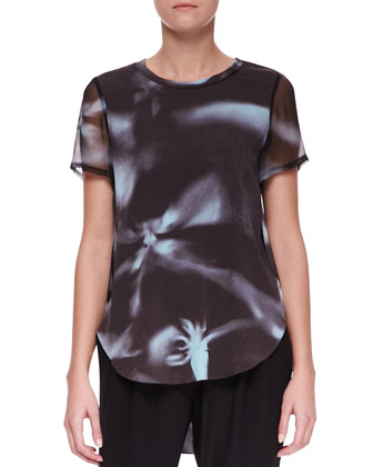 Printed Split-Hem T-Shirt