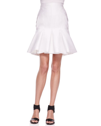 Embellished-Shoulder Scuba Top and Pleated Scuba Trumpet Skirt