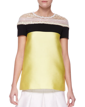 Embellished-Shoulder Scuba Top