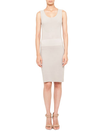 Sleeveless Mixed-Knit Sheath Dress