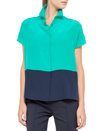 Cap-Sleeve Colorblock Top