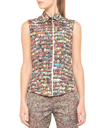 Sleeveless Stadium-Print Top
