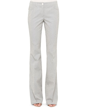 Faye Boot-Cut Seersucker Pants