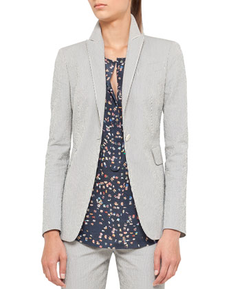 Seersucker Blazer and Pants & Sunbathing-Print Blouse