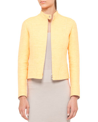 Sleeveless Mixed-Knit Sheath Dress and Techno Tweed Zip Jacket